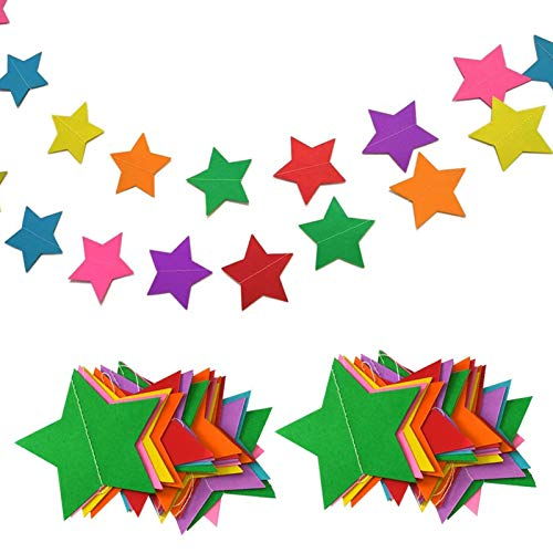Hangnuo 4 Meters Star Paper Garland Hanging Decorations for Wedding Birthday Party Nursery Baby Girls Bedroom, Large Stars, Rainbow