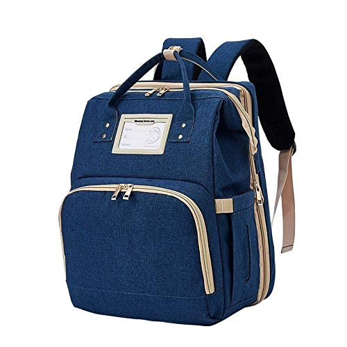 T-ara The New Travel Diaper Bag Mommy Backpack Portable Baby Crib Kid Carry Cot Charge Big Baby Bed Maternity Handbag Stroller Bag 2 orders Essential for hiking (Color : Dark blue, Size : A)