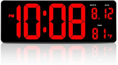 DreamSky 14.5 Inches Extra Large LED Digital Clock with Date Indoor Temperature Display, Oversized Desk Office Wall Clock with Fold Out Stand, Large Number Display, Auto DST Time Change
