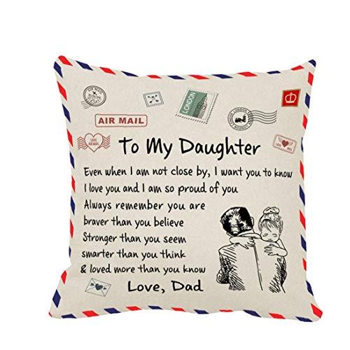KHHGTYFYTFTY Fundas de Almohada Almohada del Amortiguador de la Cubierta a mi Hija de Correo aéreo Impreso Carta de Regalo Lino Plaza Decorativo para Dormitorio Sofá de Coches