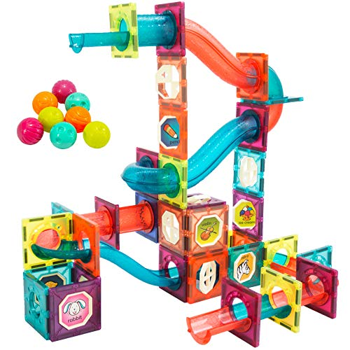 3D Magnetic Tiles Blocks Toys for Kids Ages 4-8-12 Magnatiles Building Marble Run Balls Track Educational Toys for Children 3 5 6 7 8 10 Year Old Boys Girls STEM Birthday Gifts for Preschool 101PCS