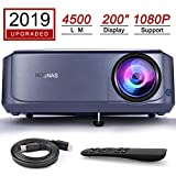 Beamer 4500 Lumen Multimedia Full HD Video-Beamer untersttzt 1080P Full HD LED 50000 Stunden mit max 200' Display, Verbindung mit HDMI VGA SD USB AV Gert, Heimkino Projektor