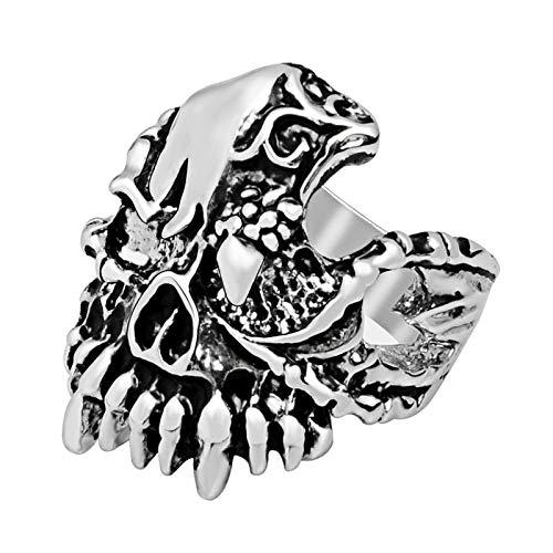 EzzySo Anillo de cráneo de Colmillos de águila de Garra, joyería de Anillo de aleación de aleación de Punk de la Personalidad Retro de los Hombres Retro (2 Piezas),9