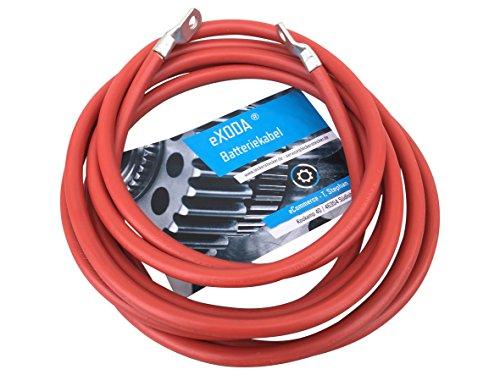 eXODA Batteriekabel 50 mm² 200cm Kupfer Stromkabel mit Ringösen M8 rot 12V KFZ Kabel