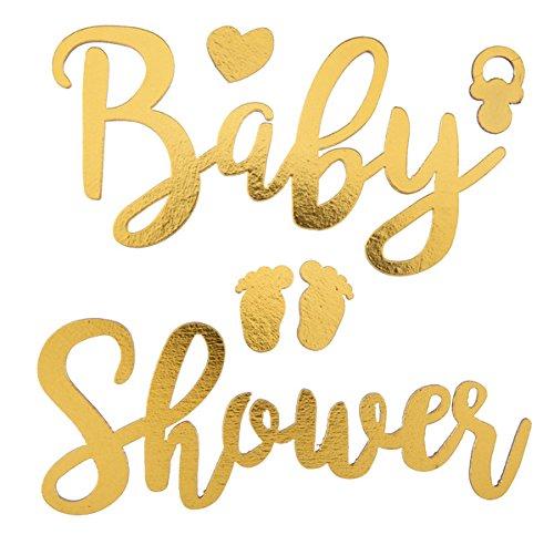 Holz-Sticker Baby Shower mit Schnuller und Baby-Füßchen in gold/Deko-Aufkleber Baby, Taufe, Geburt, Baby-Shower-Party