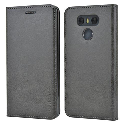 Mulbess Handyhülle für LG G6 Hülle Leder, LG G6 Handytasche, Slim Flip Schutzhülle für LG G6 Hülle, Grau