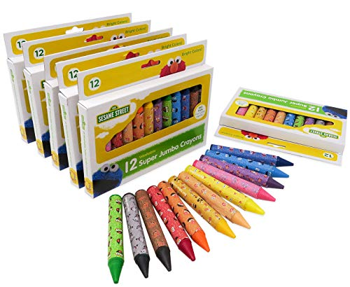 Sesame Street 12 Count Washable Jumbo Crayons | 6 Pack of 72 Crayons Total | Assorted Colors | Non Toxic | Great for Classrooms | For Toddlers and Kids