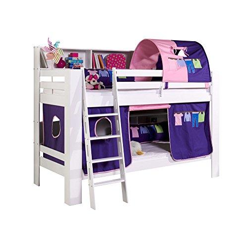 Relita Etagenbett Jan mit Bücherregal, Vorhang und Tunnel Buche massiv, weiß lackiert, Stoff lila