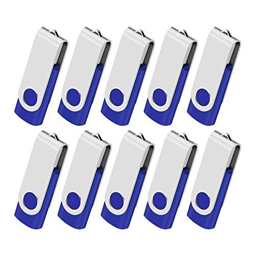 Lot de 10 Clé USB 32GB Cles USB 2.0 Mémoire Stick Lecteur USB Flash Drive Stockage Rotation Disque Pendrive pour Ordinateur Portable/PC/Voiture (Bleu)