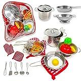 PEGALIFE Küchenspielzeug Kinderküche Zubehör | 17-teiliges Kinderküchen-Set: Edelstahl-Kochgeschirr samt Kochhandschuh und Topflappen | Gemüse, Ei und Pizza Spielzeug ab 3 Jahre
