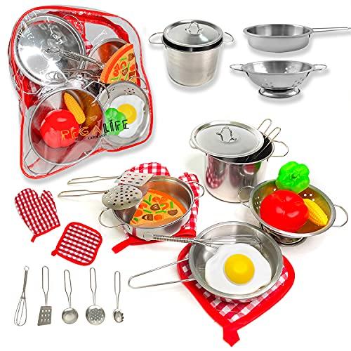 Kinderküche Outdoor Zubehör | 17-teiliges Kinderküchen-Set: Edelstahl-Kochgeschirr samt Kochhandschuh und Topflappen aus Stoff | Gemüse, Ei und Pizza aus Kunststoff | inkl. praktischem Rucksack