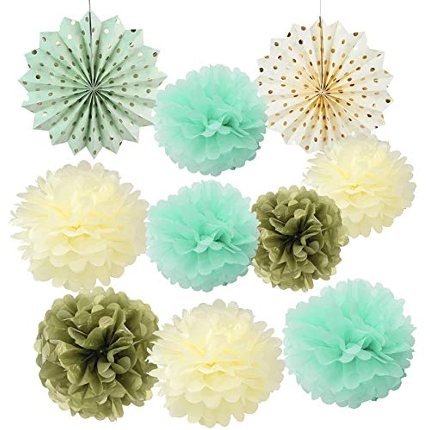 Mint Cream Gold Tissue Paper Pom Poms Flowers Gold Dot Paper Fans Collection Home Decoration for Wedding Decor - Birthday Celebration - Wedding Party and Outdoor Decoration 10pcs(8inch 10inch 12inch)
