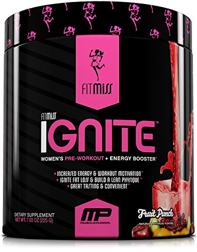 FitMiss Ignite, Women's Pre-Workout Supplement & Energy Booster for Fat Loss, Supports Energy & Workout Motivation, Fruit Punch, 30 Servings