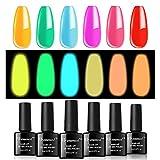 vrenmol Glow in The Dark Gel Nail Polishes Luminous Neon Gel Nail Polish Set Fluorescent Bright...