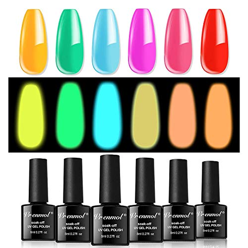 Vrenmol esmalte de uñas que brilla en la oscuridad, esmalte de uñas en gel luminoso, conjunto de esmalte de uñas fluorescente brillante, UV LED, arte de uñas, 6 piezas, colores, 8 ml (juego-001)