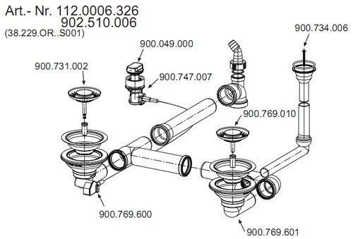 Ab- und Überlaufgarnitur für die FRANKE Spüle PAMIRA PMG 654 und Pamira PMX-E (Produktion vor 2004) / Ersatzteil Einbauspüle / Ablaufgarnitur