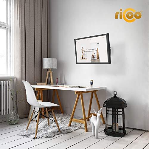 RICOO Monitor Halterung Monitorhalterung Wand S3511 Schwenkarm TFT TV Wandhalterung Schwenkbar Neigbar 4K Monitor Wandhalter für PC-Monitor und Fernseher mit 33 – 69cm (13 – 27″) VESA 75×75 100×100 - 4