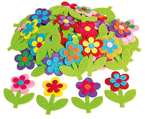 50 Blumen Streuteile Deko 5x6,5cm bunt aus Filz mit Stiel VBS Großhandelspackung