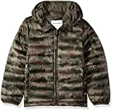 Amazon Essentials Kids Boys Light-Weight Water-Resistant Packable Hooded Puffer Jackets Coats, Camo Print, Large