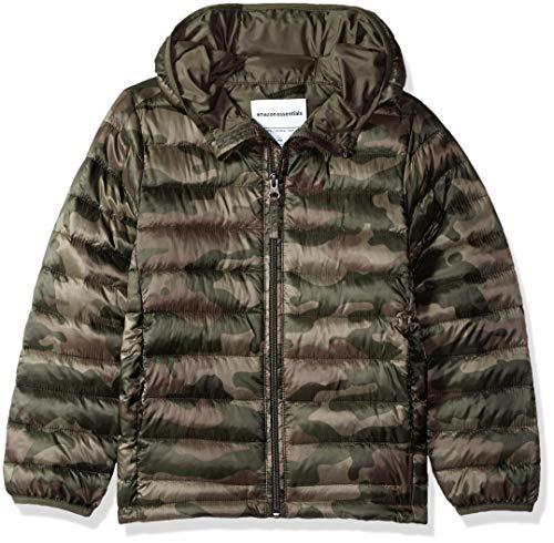 Amazon Essentials Lightweight Water-Resistant Packable Hooded Puffer Jacket Abrigo Alternativo de plumón, Camo Print, 10 años