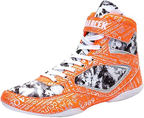 ZKHD Hombres Mujeres Zapatos de Boxeo Zapatillas de Deporte Antideslizantes Ligeras Amortiguador Transpirable para Gimnasio Lucha en Cuclillas,Orange-4UK