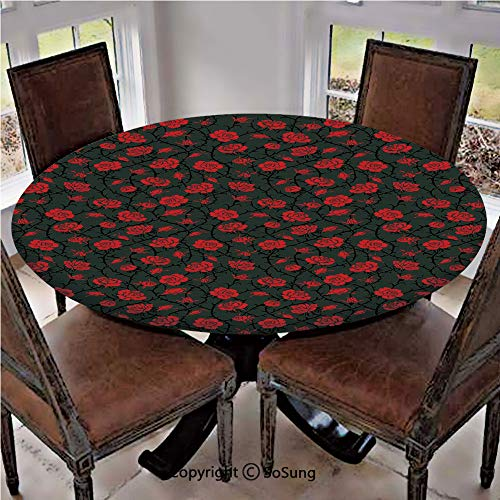 "Elastic Edged Polyester Fitted Table Cover,Rose Swirls Ivy Plants Dark Mysterious Forest Themed Pattern,Fits up 40""-44"" Diameter Tables,The Ultimate Protection for Your Table,Charcoal Grey and Ruby"