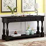 Console Table with Drawers and Shelf 64' Long Sofa Table Entryway Table for Entryway Living Room Hallway (Antique Black)