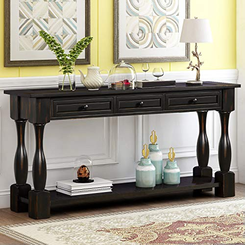 "Console Table with Drawers and Shelf 64"" Long Sofa Table Entryway Table for Entryway Living Room Hallway (Antique Black)"
