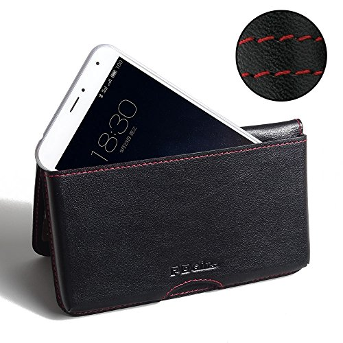 PDAir MEIZU PRO 5 Leder Brieftasche Folio Handy Hülle (Rot Stich), Brieftasche Echtleder Klapphülle Flip Hülle Etui, Prämie Brieftasche Tasche für MEIZU PRO 5