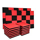 50 Pack Acoustic Panels Soundproof Studio Foam for Walls Sound Absorbing Panels Sound Insulation Panels Wedge for Home Studio Ceiling, 1' X 12' X 12', Black (50PCS, Black&Red)
