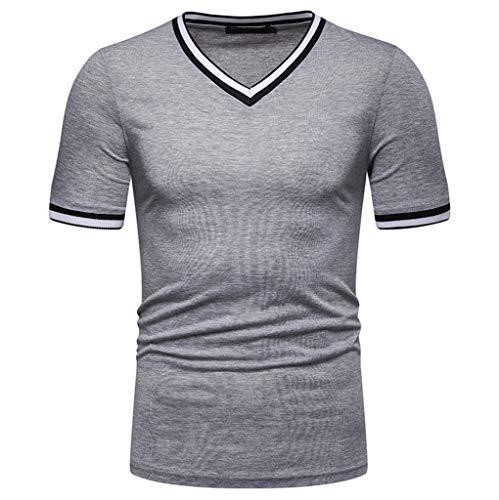 POachers Hommes T-Shirt Col en V Slim fit Couleur Unie Manche Courte-Shirt Top Basic Shirt Crew Neck Vintage Sweat-Shirt Tee Shirt