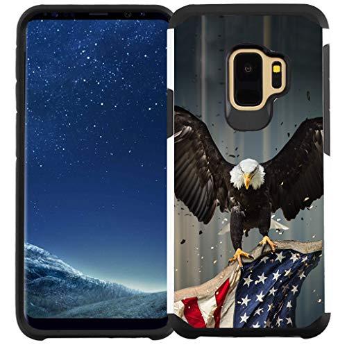 Galaxy S9 Plus Hülle, doppellagig, stoßfest, American Bald Eagle Fliegen mit Fahne
