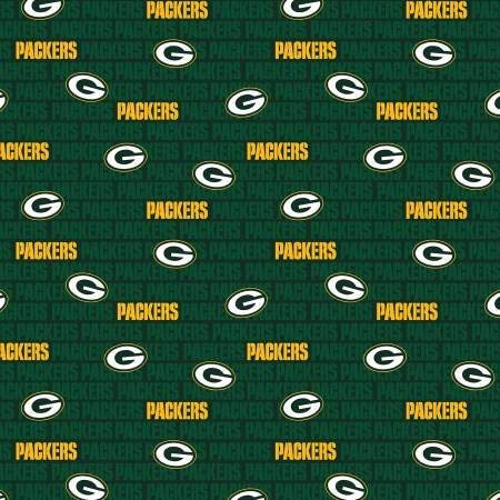 """Green Bay Packers Football Words in Green NFL 58"""" Wide 100% Cotton Fabric by The Yard"""