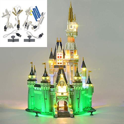 YLJJ Set di luci LED USB Fai-da-Te Compatibile con Lego Disney Castle 71040, Kit di luci a LED per (Disney Castle) Building Block Modello per Bambini Regali di Natale (Non Incluso Il Modello)