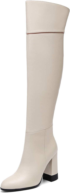 Nine Seven Women's Genuine Leather Round Toe Chunky Heel Handmade Glossy and Comfortable Knee High Boots