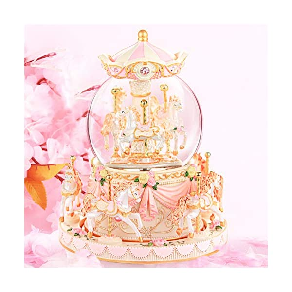 Carousel Snow Globe Music Box - 8 Horse Blue Snowglobe Anniversary Christmas Birthday Gift for Wife Daughter Girlfriend… 10