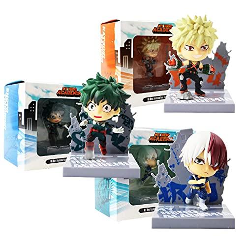 3 Unids / Set My Hero Academia Katsuki Bakugo Shoto Todoroki Izuku Midoriya Q Versión PVC Figura De Acción Modelo De Juguete De Colección