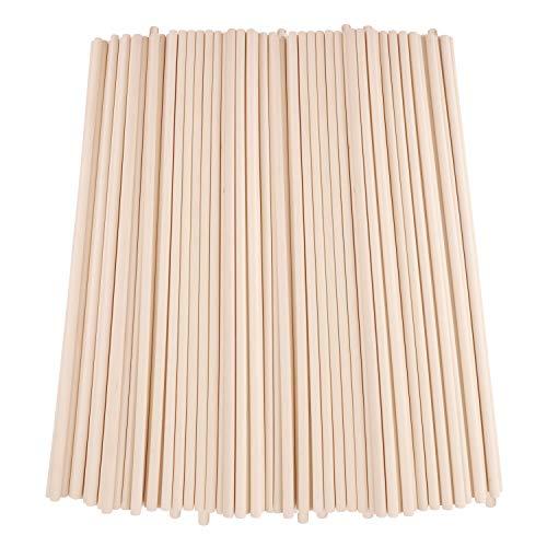 Holzstäbe (100 Stk) - 30cm x 6mm Dübelstangen Holzdübel Naturholz - Holzstäbchen Rund zum Basteln für DIY Projekte – Deko Rundstäbe – Bastelstäbchen für Holzarbeiten Laternenstab für Kinder