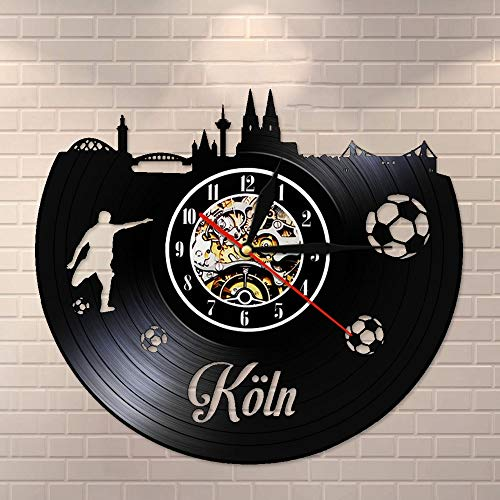 Reloj de pared de vinilo vintage con diseño de paisaje urbano de Colonia