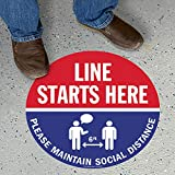 SmartSign Line Starts Here Floor Sign, Please Maintain 6 Feet Social Distance Floor Decals, 9x9 Inches Anti-Skid Vinyl, Textured-Finished, USA Made