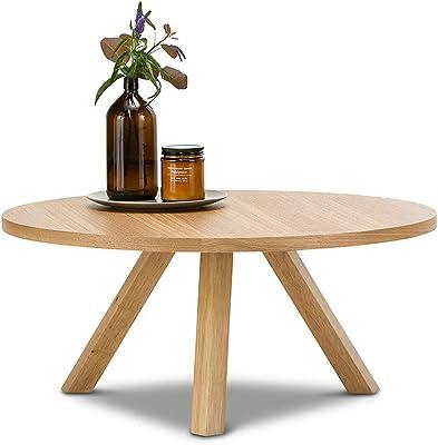 L3 Home Roi Oak Wood Veneer Round Timber Coffee Table, 80cm, Natural