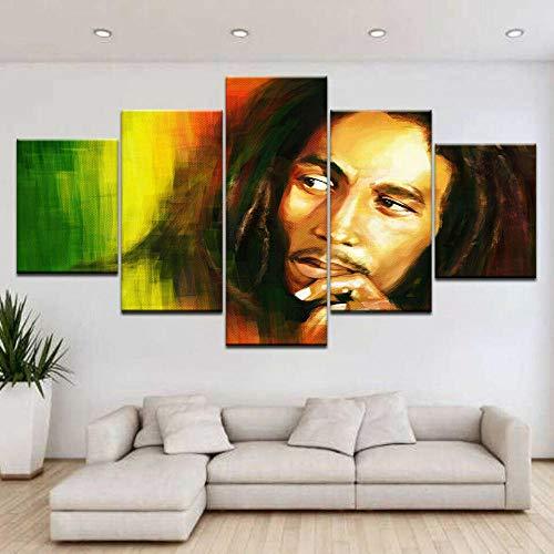 Cuadro sobre Impresión Lienzo 5 Piezas Bob Marley Rasta 100x55cm Cuadro en Lienzo 5 Piezas Listo para Colgar Lienzos Moderno Arte Sala Decoración Regalo