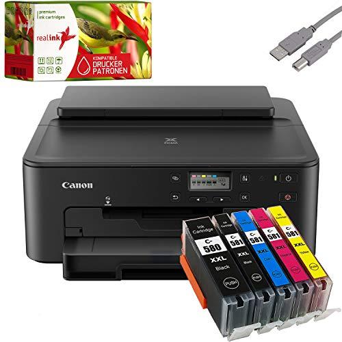 Canon PIXMA TS705 Tintenstrahldrucker schwarz + USB Kabel & 5 komp. realink Druckerpatronen (Drucken per USB oder WLAN) - Originalpatronen ausdrücklich Nicht im Lieferumfang!