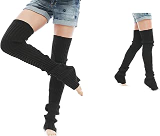 Mallalah, Mallalah Mujeres Niñas Calcetines de Yoga Cubierta de la bota Crochet Largas polainas Medias Rodilla Rodilleras de la rodilla para la danza Yoga Pilates Fitness