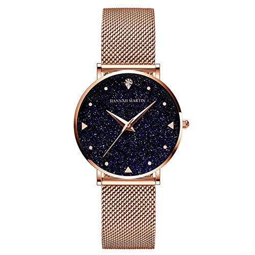 Hannah Martin Japan Quartz Starry Sky Night Reloj de Malla de Acero Inoxidable a Prueba de Agua para Navidad Acción de Gracias