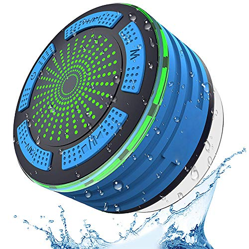 Duschradio mit saugnapf, IPX7 wasserdichtes, drahtloses 4.0-Duschradio mit HD-Sound, Superbass, FM-Radio und farbenfrohem LED-Effekt, ideal für Dusche, Küche, Pool, Bad und Außenbereich