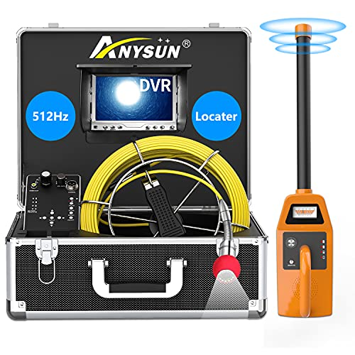 Sewer Camera with Locator,165FT Pipe Inspection Snake Cam with 512Hz Sonde Transmitter and DVR Recorder, Waterproof Drain Plumbing Camera Semi-Rigid Cable 7 inch LCD Monitor (8 GB SD Card Included)