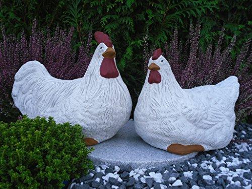 Steinfiguren Spicker Steinfigur Huhn, Henne, Hahn 2er Set 135/5.1, 180/5.1 Gartenfigur Steinguss Tierfigur Weiß Patina