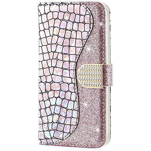 CTIUYA Schutzhülle für Samsung Galaxy S8 Plus, Hülle Glitzer Handyhülle PU Leder Bling Luxus Handytasche Klapphülle Case Diamant Magnet Flip Cover Ledertasche für Samsung Galaxy S8 Plus,Rose Gold