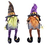 OSW Halloween Gnome Witches Set of 2, Large Color Changing Lighted Shelf Sitter Figures, Each Figure Battery Operated 3 AAA (not Included) with Auto Timer 6 Hours on 18 Hours Off